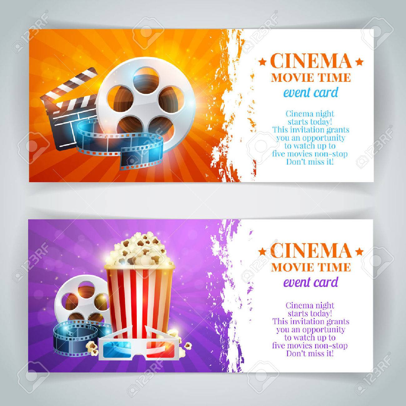 Realistic cinema movie poster template with film reel, clapper, popcorn, 3D glasses, conceptbanners with bokeh - 39556714