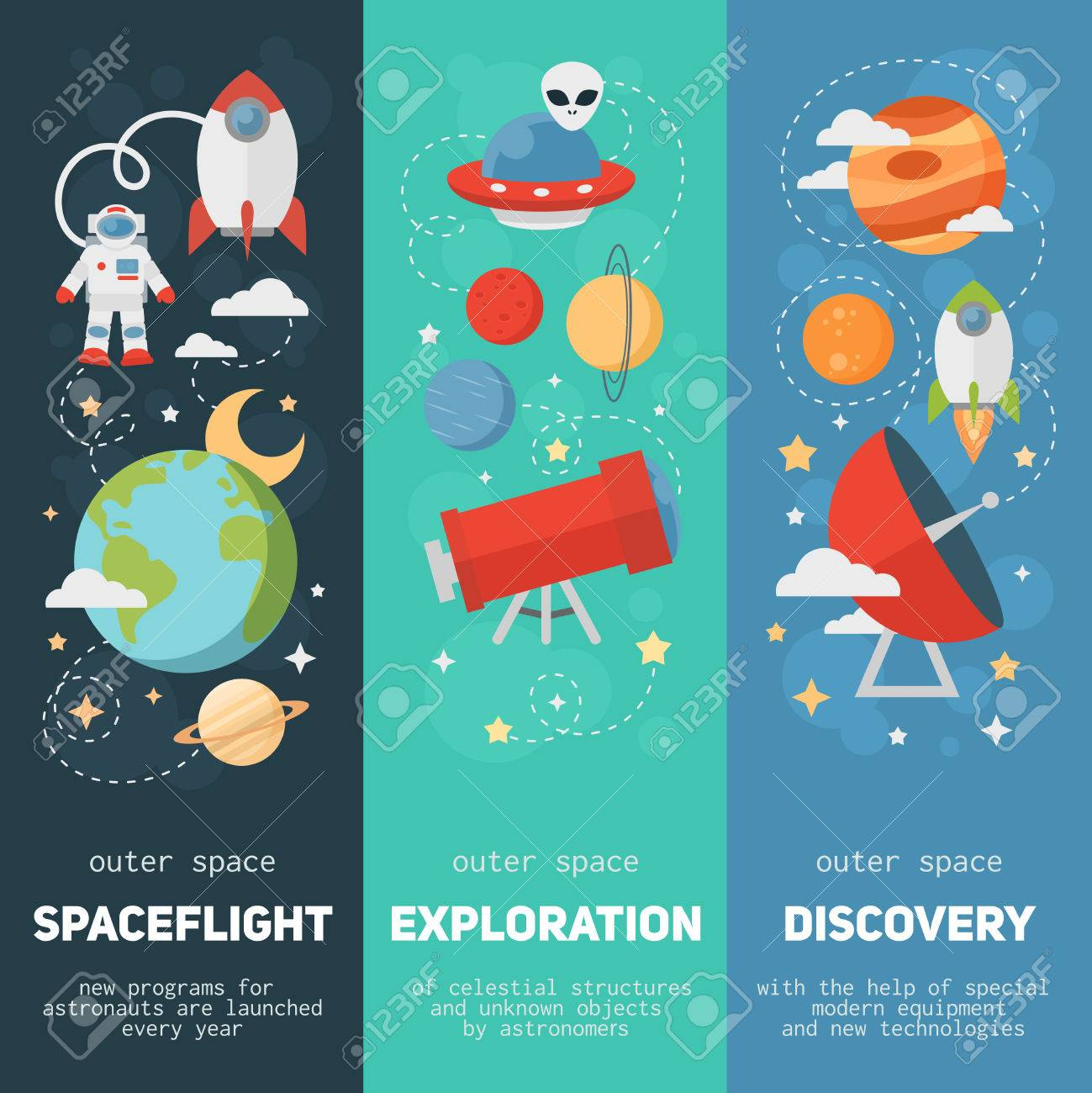 Space theme banners and cards with flat astronomic symbols of planets, rocket, stars, telescope for design, invitations and advertisement - 39556716