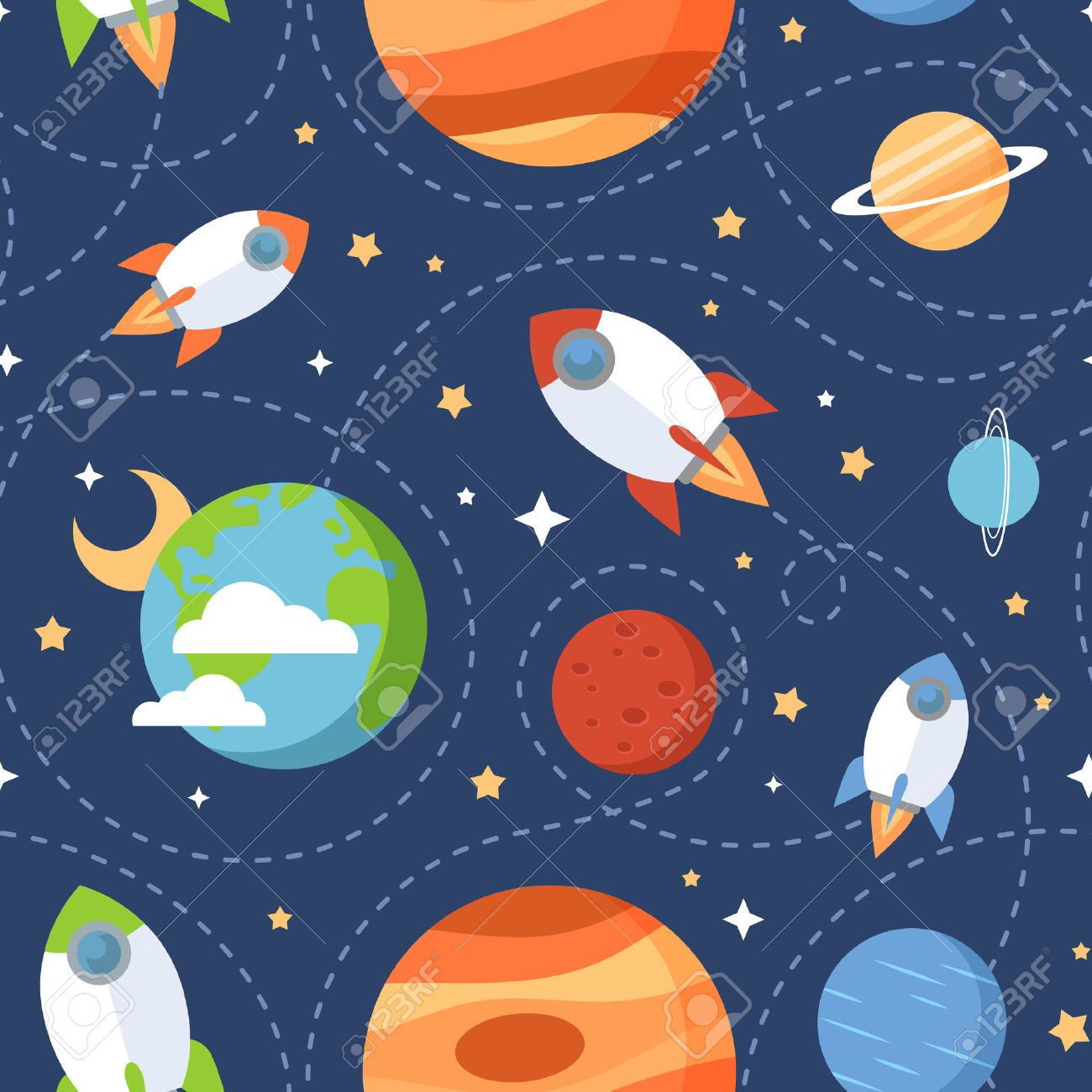Seamless children cartoon space pattern with rockets planets stars and universe over the dark night sky background - 40171206