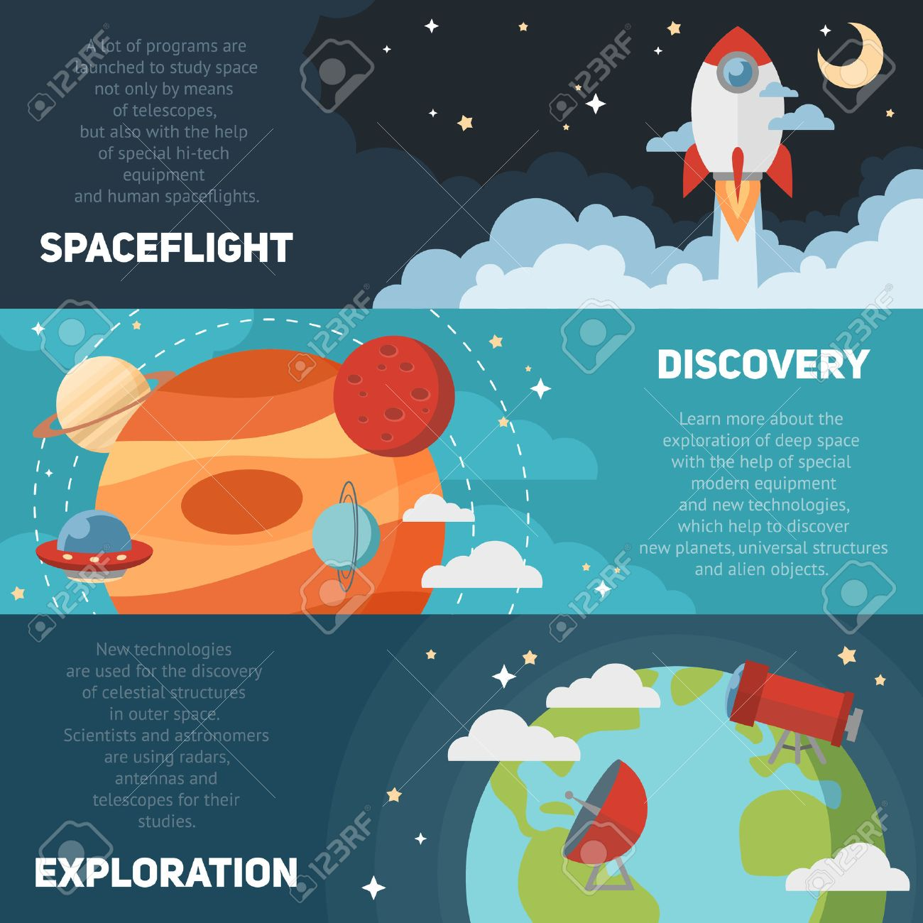Space theme banners and cards with flat astronomic symbols of planets rocket stars telescope for design invitations and advertisement - 40171561