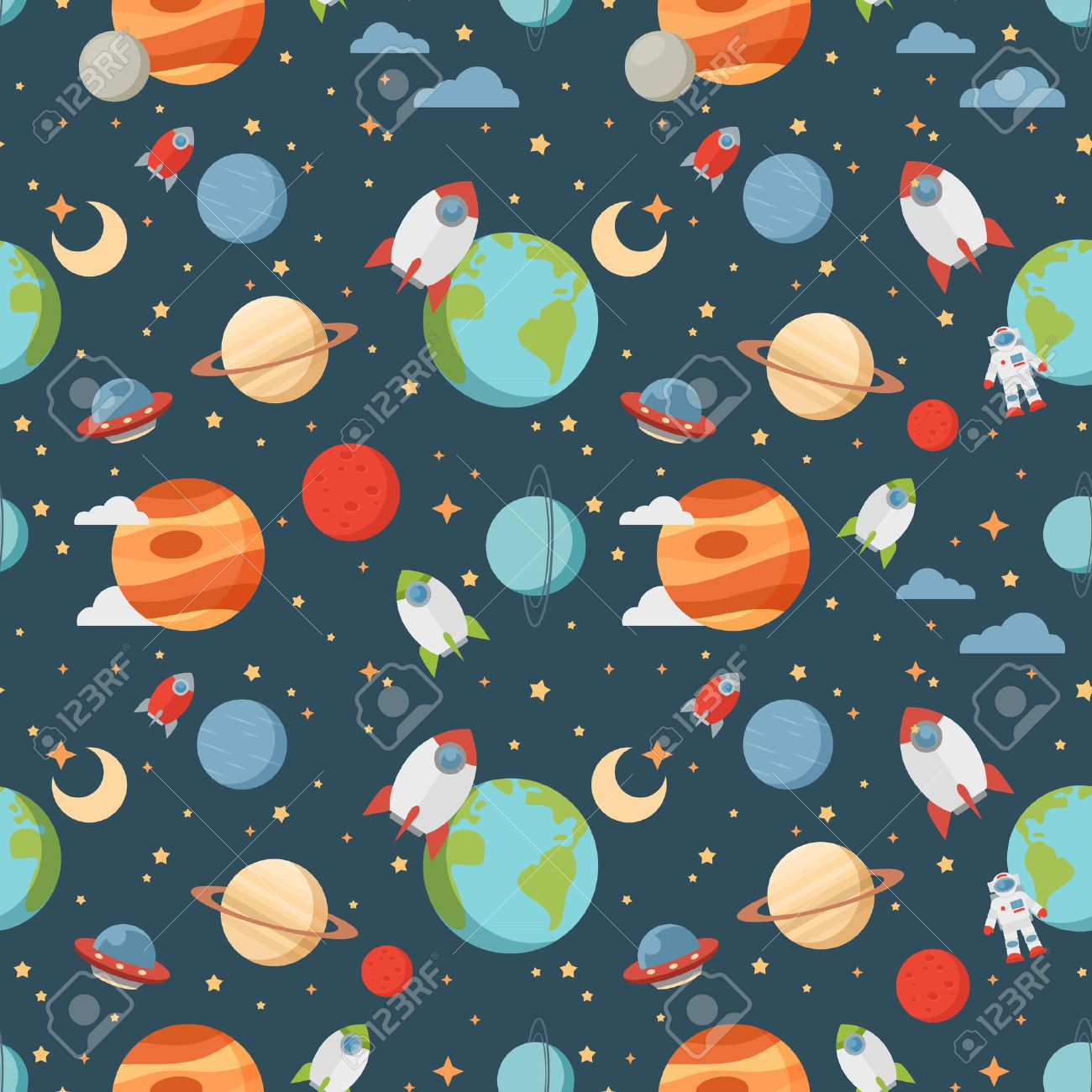 Seamless children cartoon space pattern with rockets planets stars and universe over the dark night sky background - 40171567