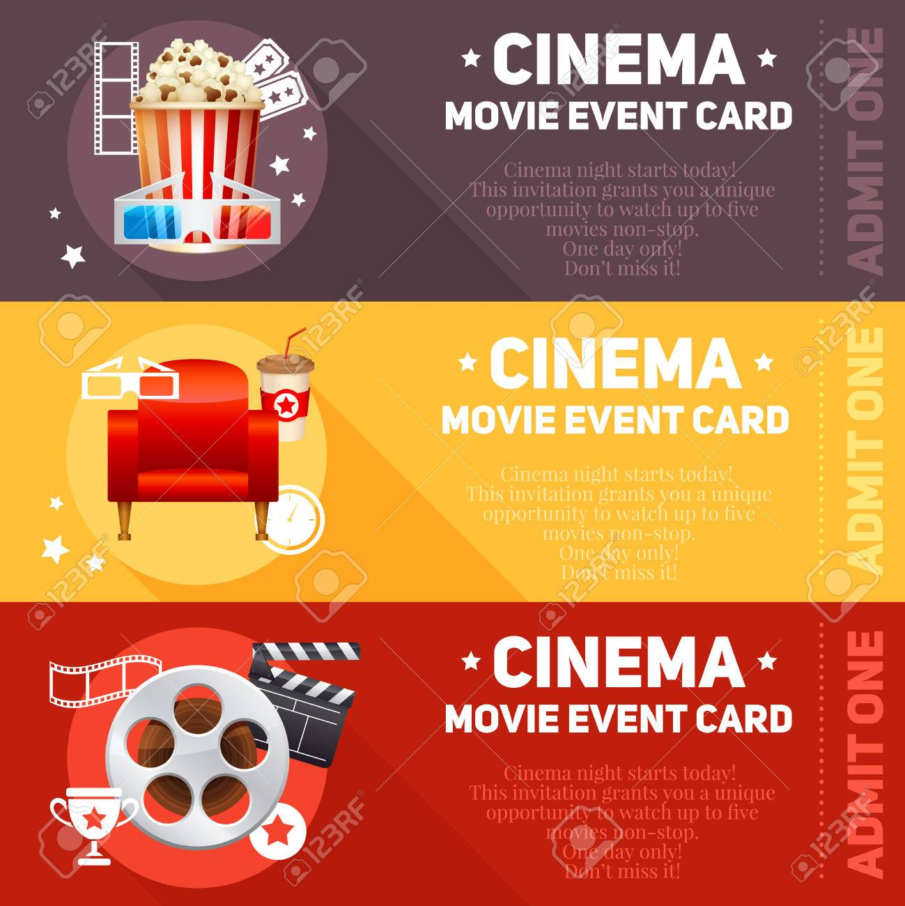Realistic Cinema Movie Poster Template With Film Reel Clapper Popcorn 3D Glasses Conceptbanners Bokeh Stock