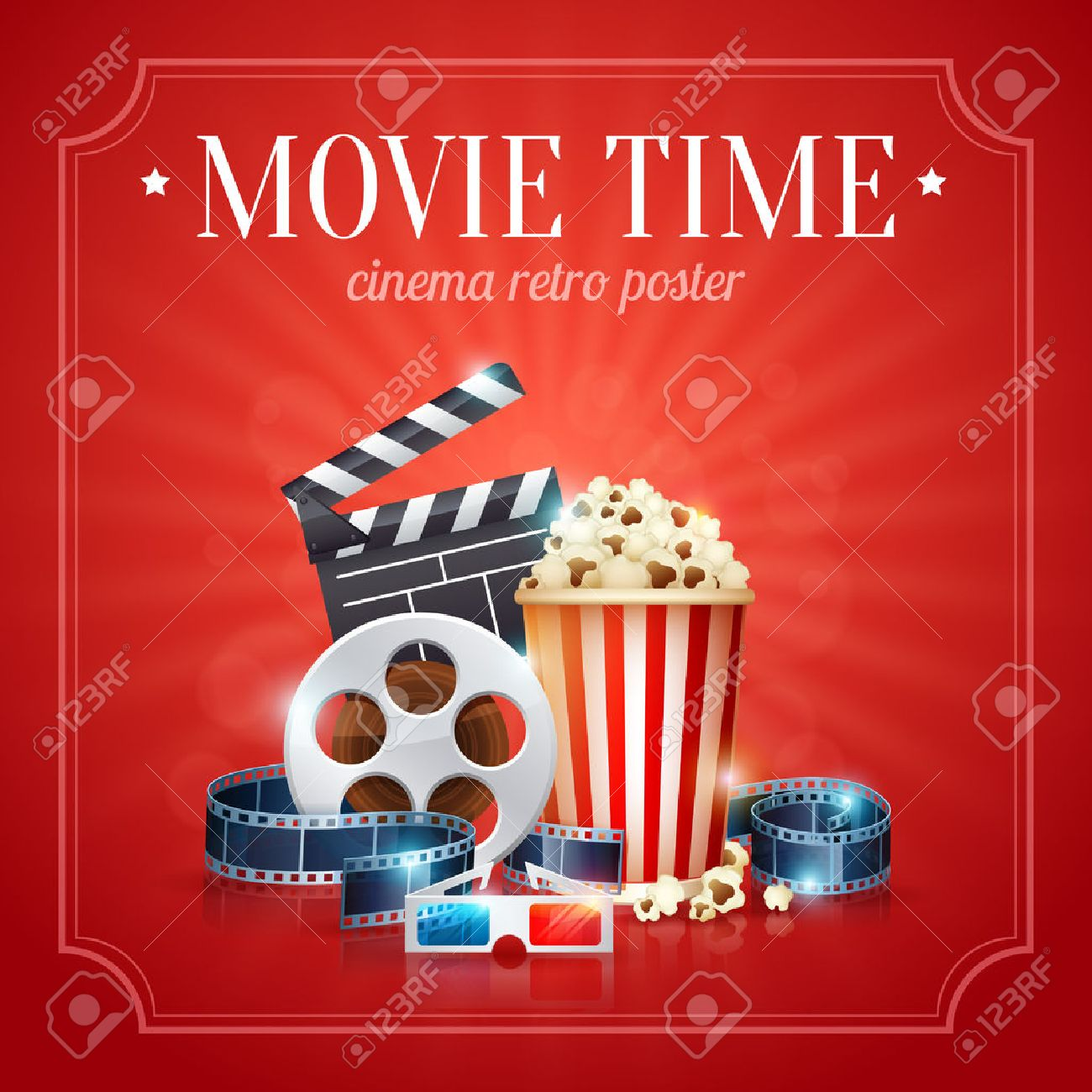 Realistic cinema movie poster template with film reel, clapper, popcorn, 3D glasses, with bokeh background - 42156368