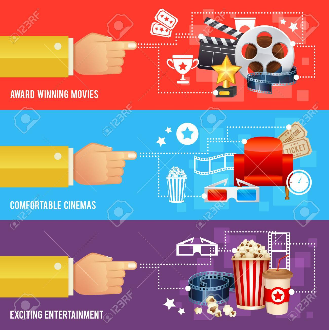 Realistic cinema movie poster template with film reel, clapper, popcorn, 3D glasses, conceptbanners - 42779261