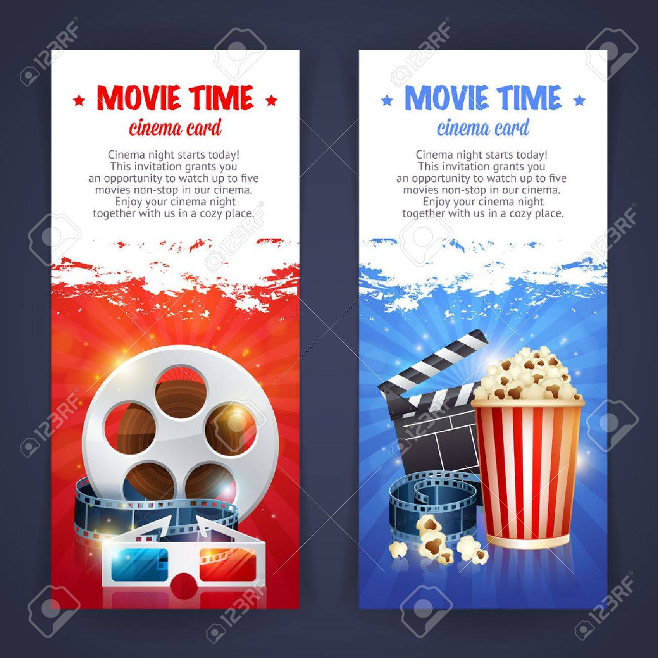 Realistic cinema movie poster template with film reel, clapper, popcorn, 3D glasses, conceptbanners with bokeh - 43143729