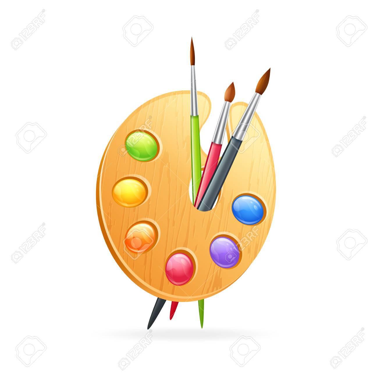 Palette En Bois Texturé De Réaliste Artiste Pour Dessiner Avec Des Peintures Colorées Et Pinceaux Isolés Sur Fond Vide