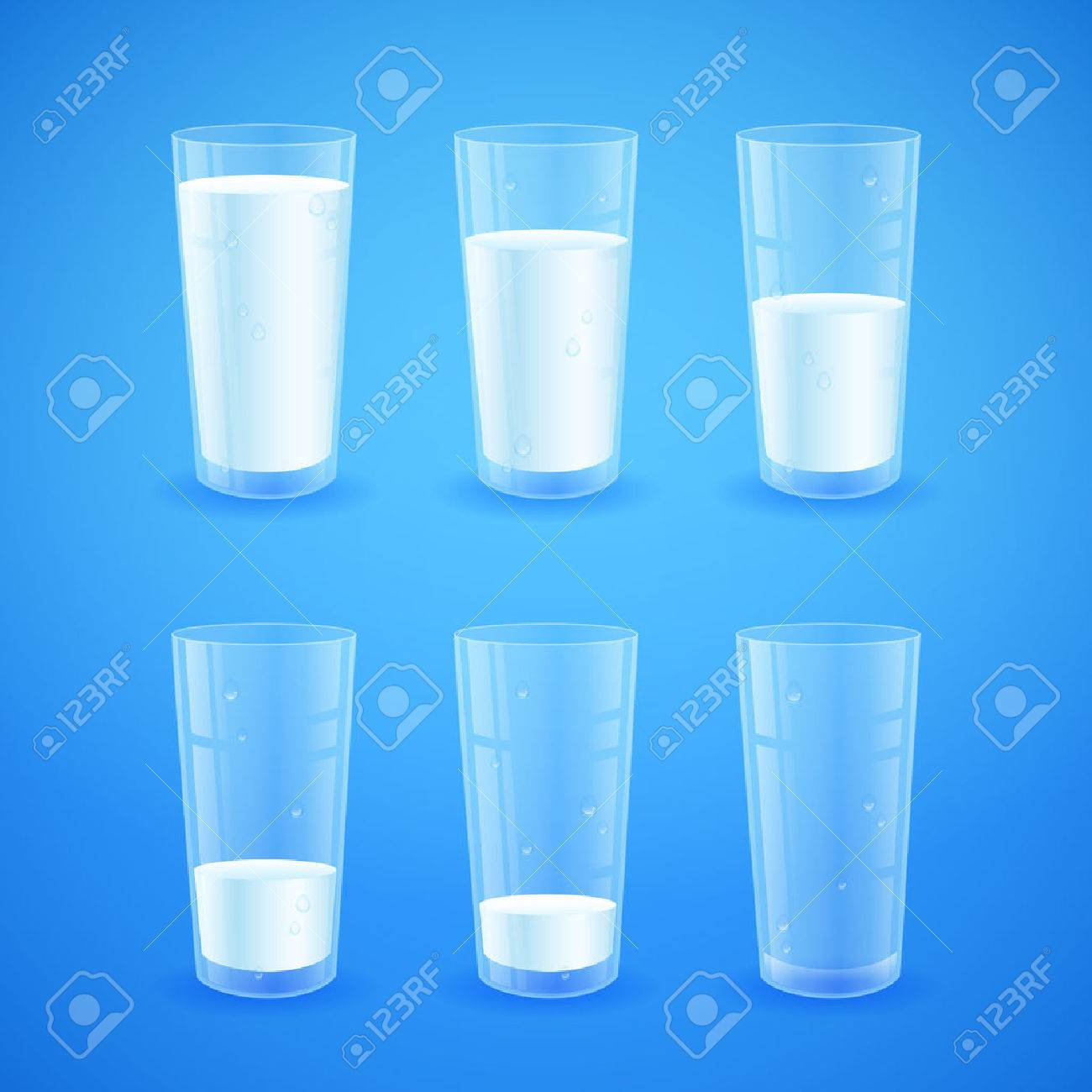 Transparent realistic glasses of milk on blue background, from full to half filled to empty, nutricios and organic, for breakfast - 44505879