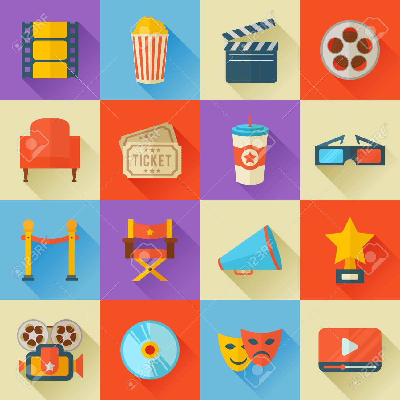 A detailed set of flat style cinema icons for web and design with movie symbols, 3D glasses, film reel, popcorn, tickets, web media - 44651206