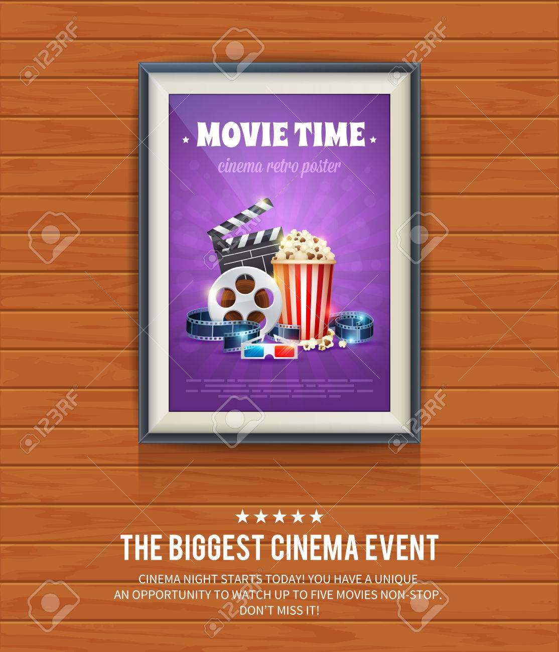 Realistic Cinema Poster In A Wooden Picture Frame Hanging On Textured Wall Movies