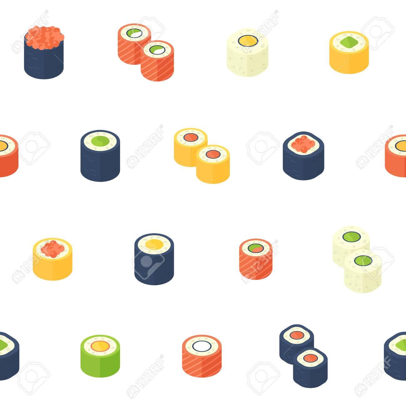 Wohnung Isometrische Sushi Nahtlose Muster Mit Asiatischen Küche Für ...