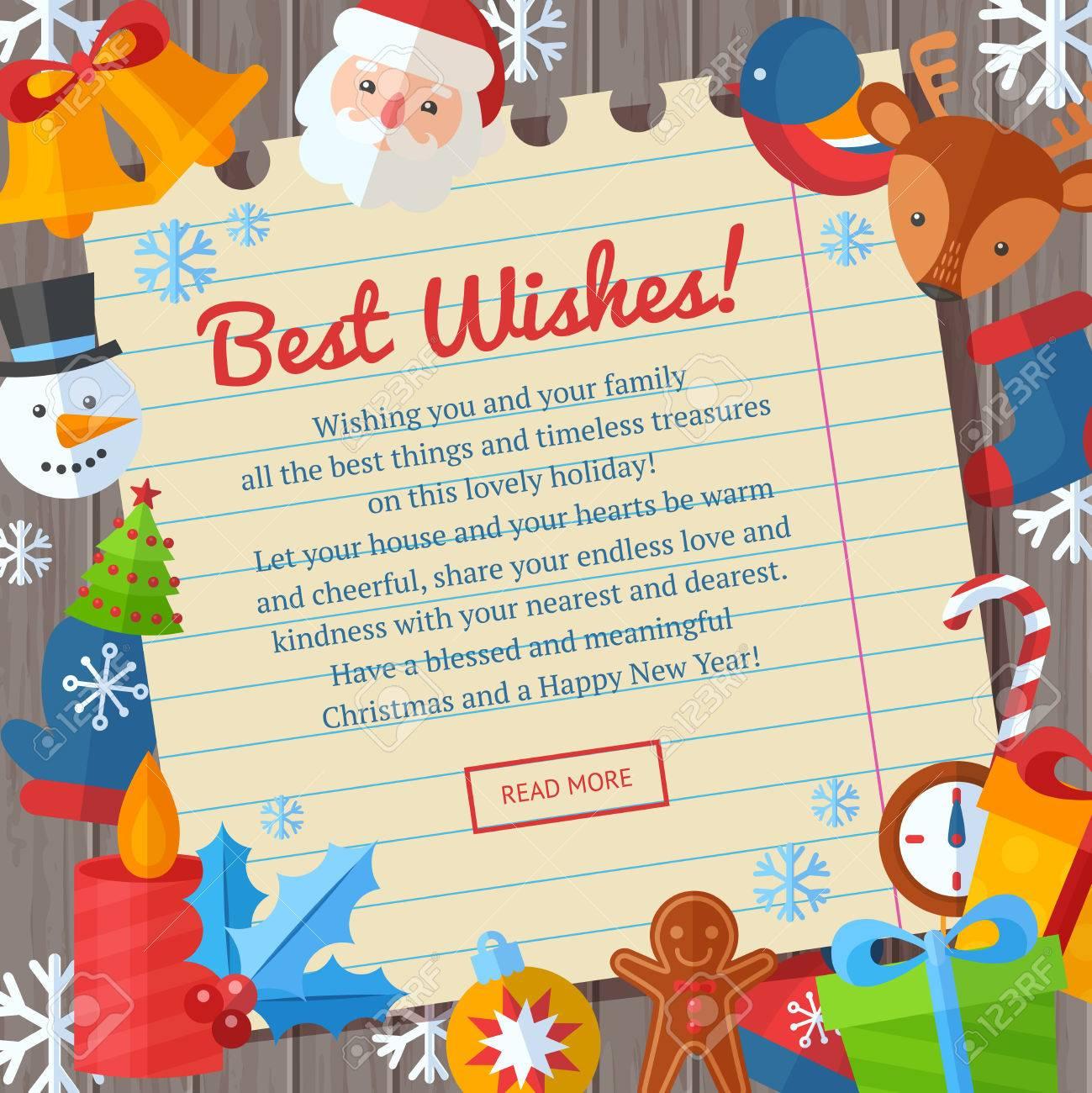 Christmas greeting or invitation cards and banners with flat christmas greeting or invitation cards and banners with flat winter elements santa deer stopboris Choice Image