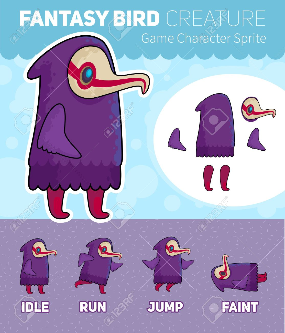 Fantasy Bird creature Game Character Sheet for side scrolling