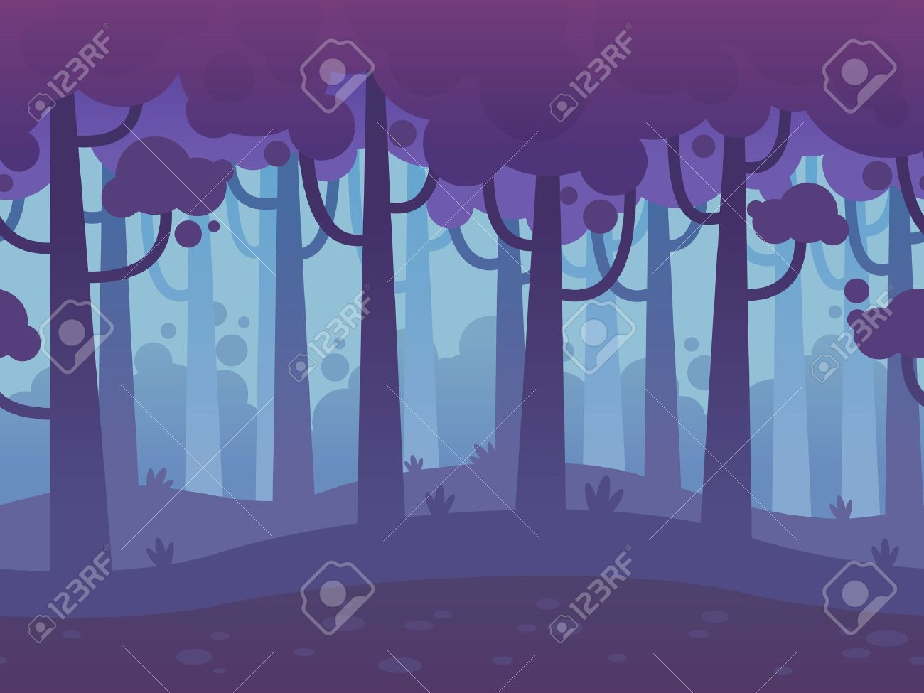 Game Seamless Horizontal Forest Background for side scrolling 2D games, action, adventure, hack and slash for PC computers, mobile apps and browsers - 51011213