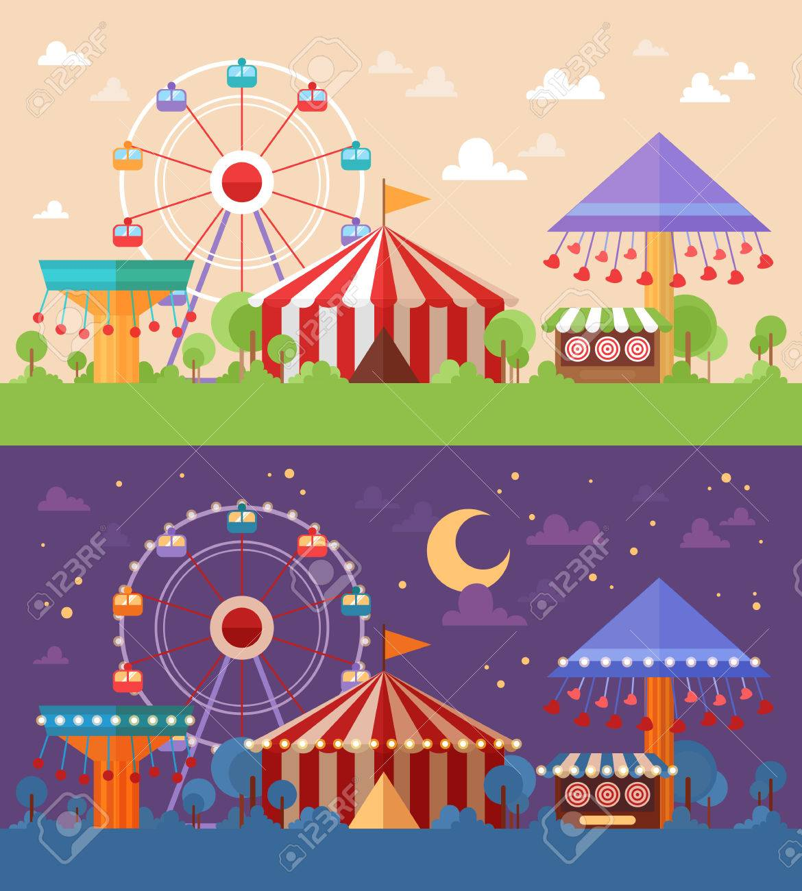 Flat Retro Funfair Scenery with amusement attractions and carousels day and night color scheme versions - 51011269