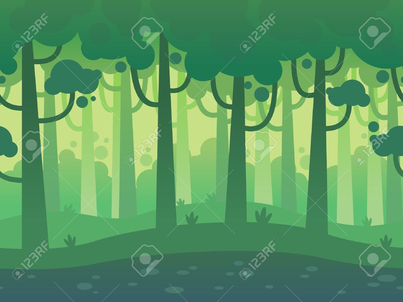 Game Seamless Horizontal Forest Background for side scrolling 2D games, action, adventure, hack and slash for PC computers, mobile apps and browsers - 51011298