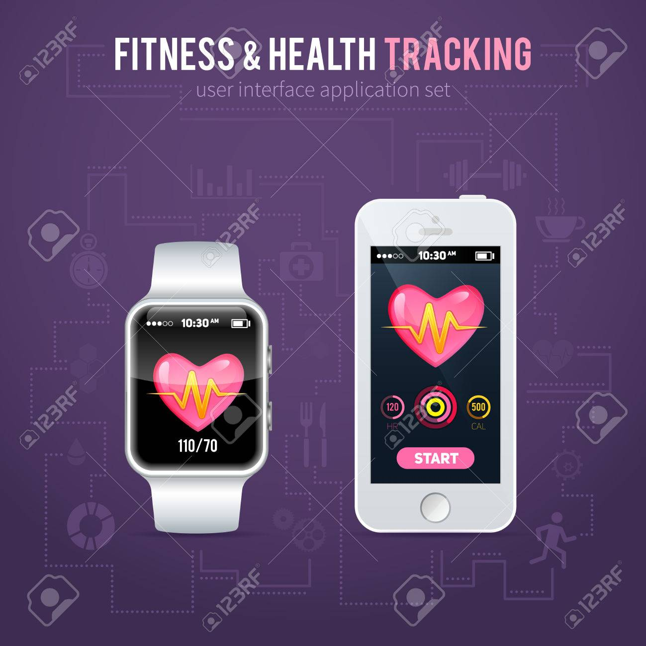 health fitness tracker application interface on realistic smart