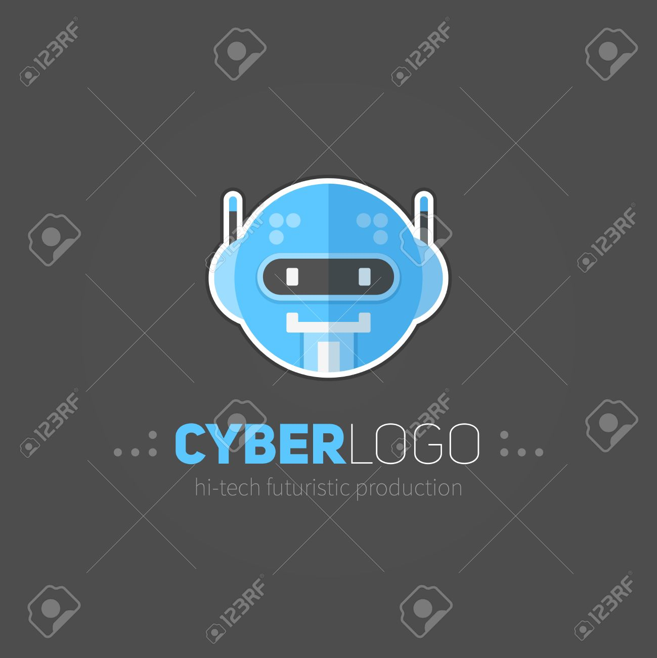 Robot head logotype in flat-style for technology producing companies and business - 60379192