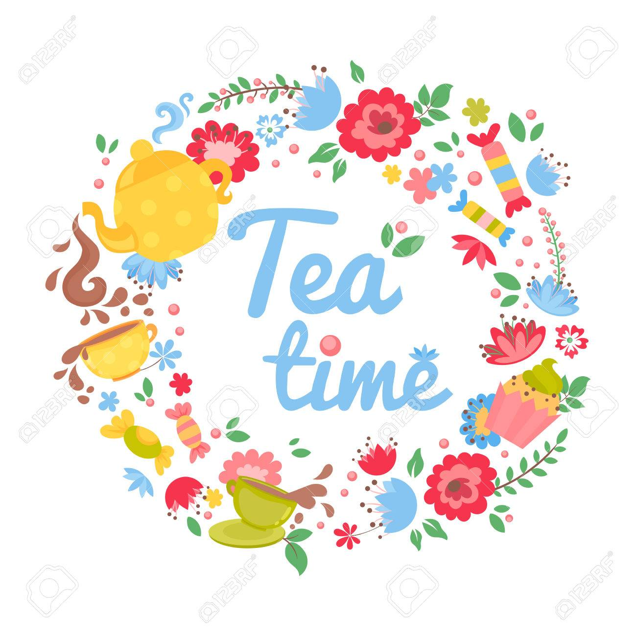 Elegant Tea Time Floral Wreath With Teapot, Cupcake, Sweets And ...