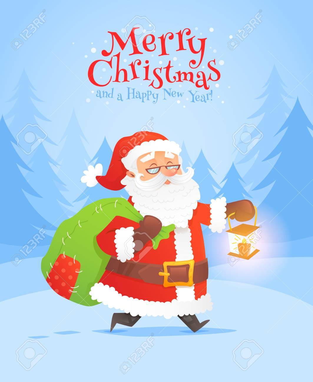48c24b8dedb7 Banque d images - Carte postale de fête de Noël père Noël avec la forêt  d hiver pour les salutations de la saison et les invitations de nouvel an