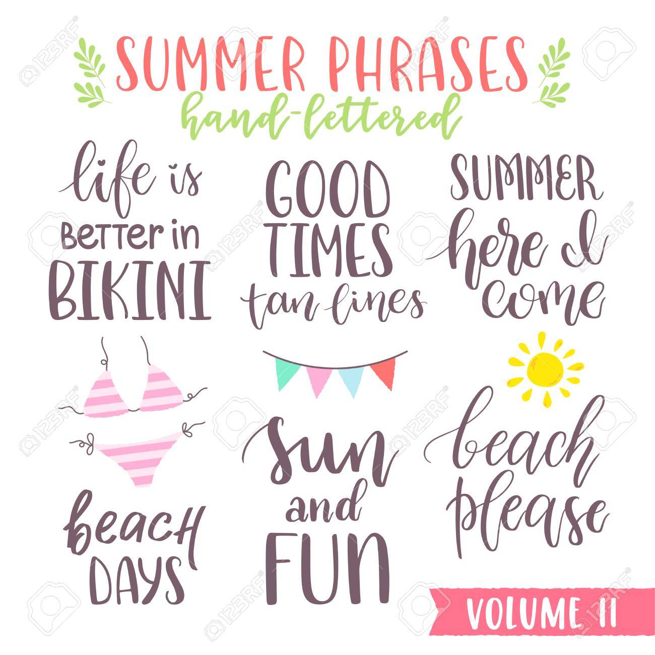 Hand Written Summer Lettering Phrases With Beautiful Script Calligraphy Font Great For Print Apparel