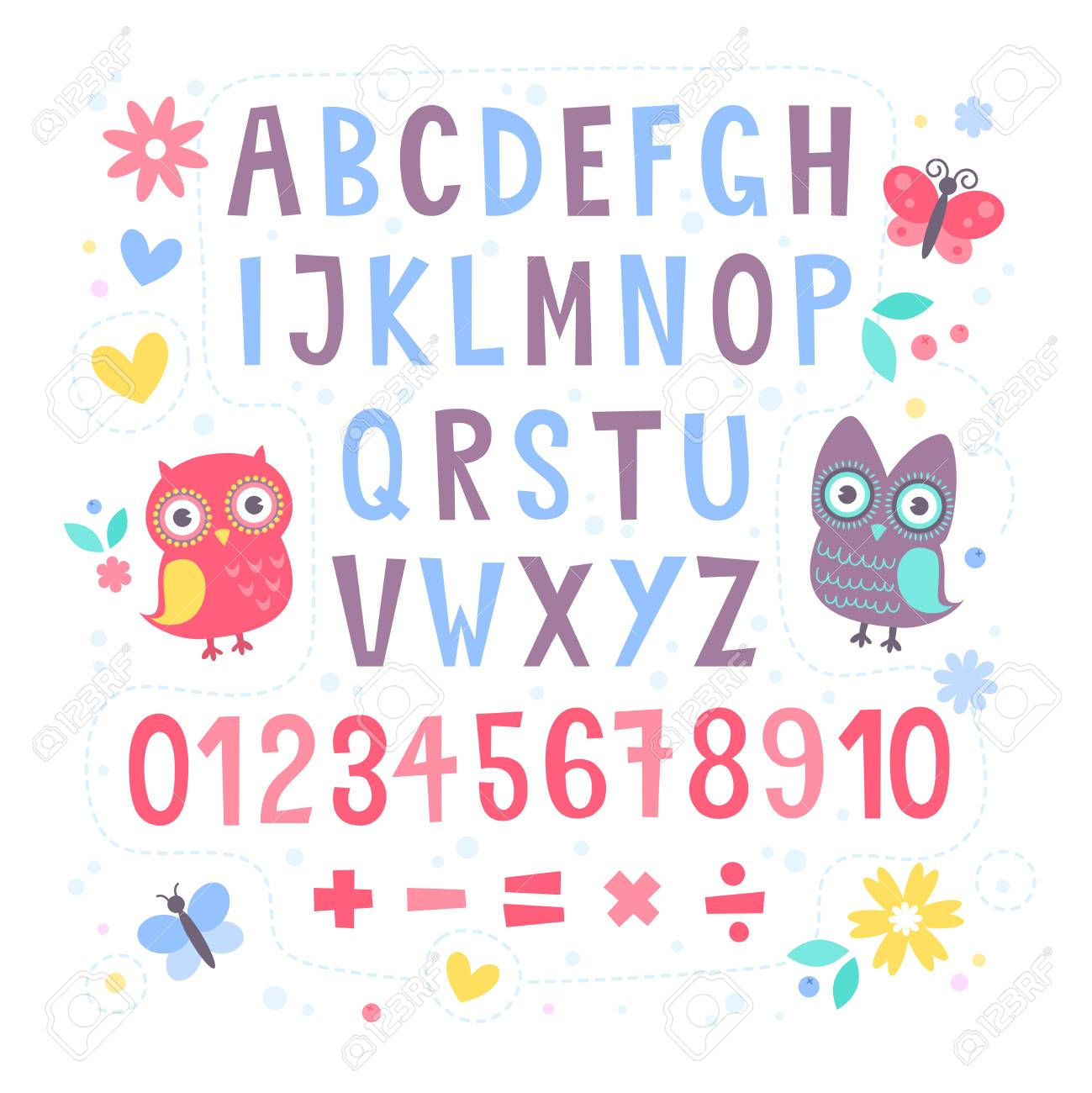 Cute Cartoon Colorful Alphabet For Children With Hand Drawn Typography Letters And Figures Isolated