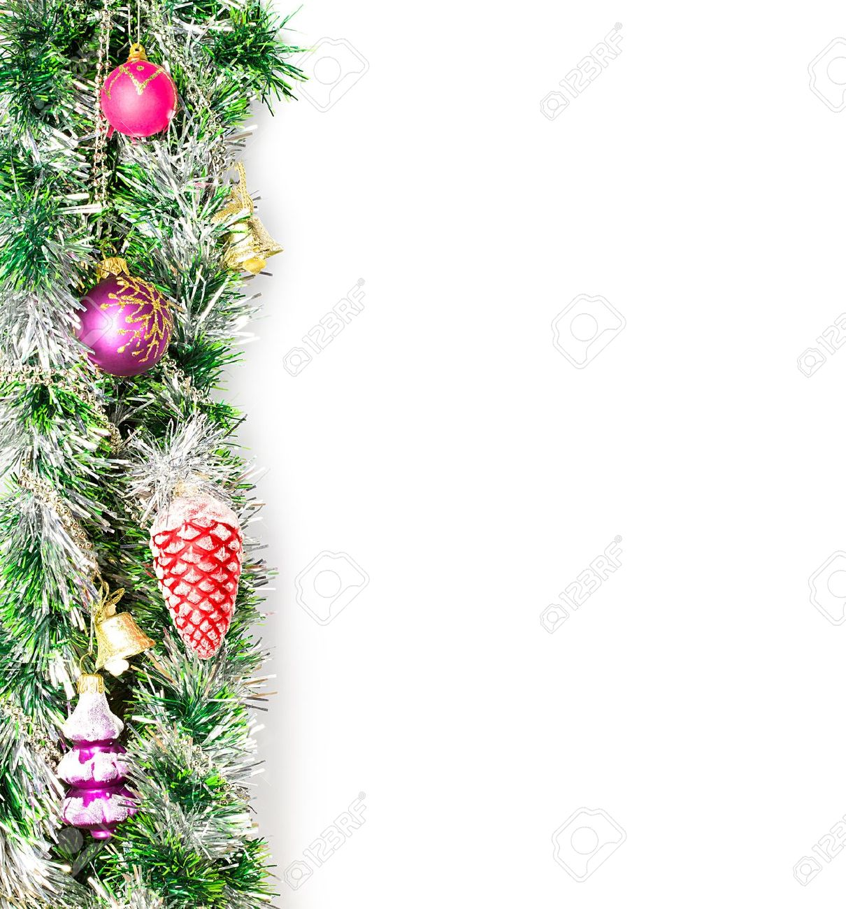 Christmas Garland Border With Decoration Ornament On White