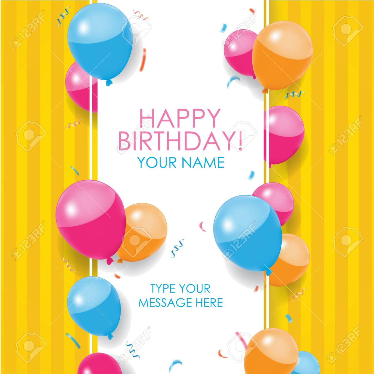Happy Birthday Card with balloons, confettis, and stripes yellow..