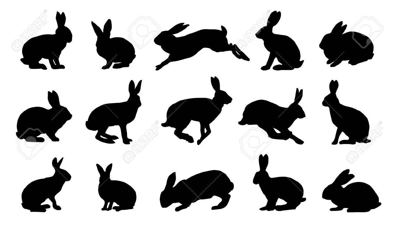 Rabbit Ears Silhouette Vector - rabbit silhouettes on