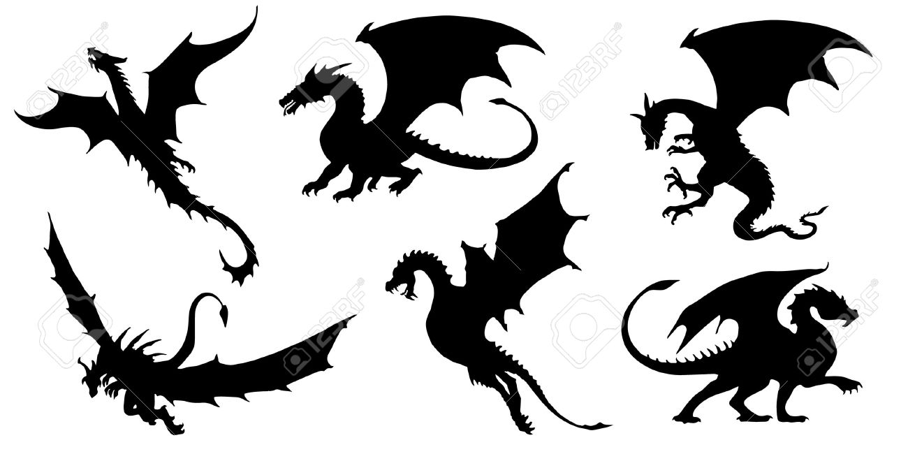 dragon silhouettes on the white background royalty free cliparts