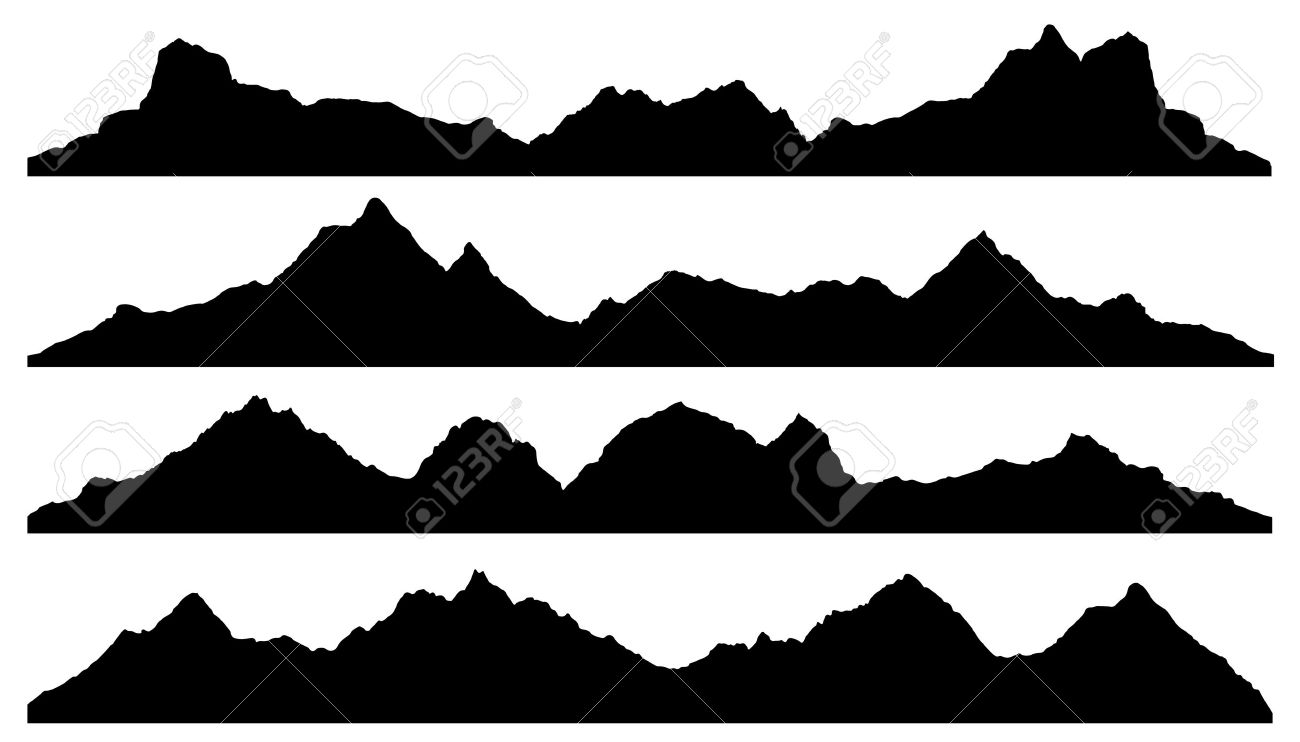 Mountain Silhouette mountain silhouettes on the white background royalty free cliparts