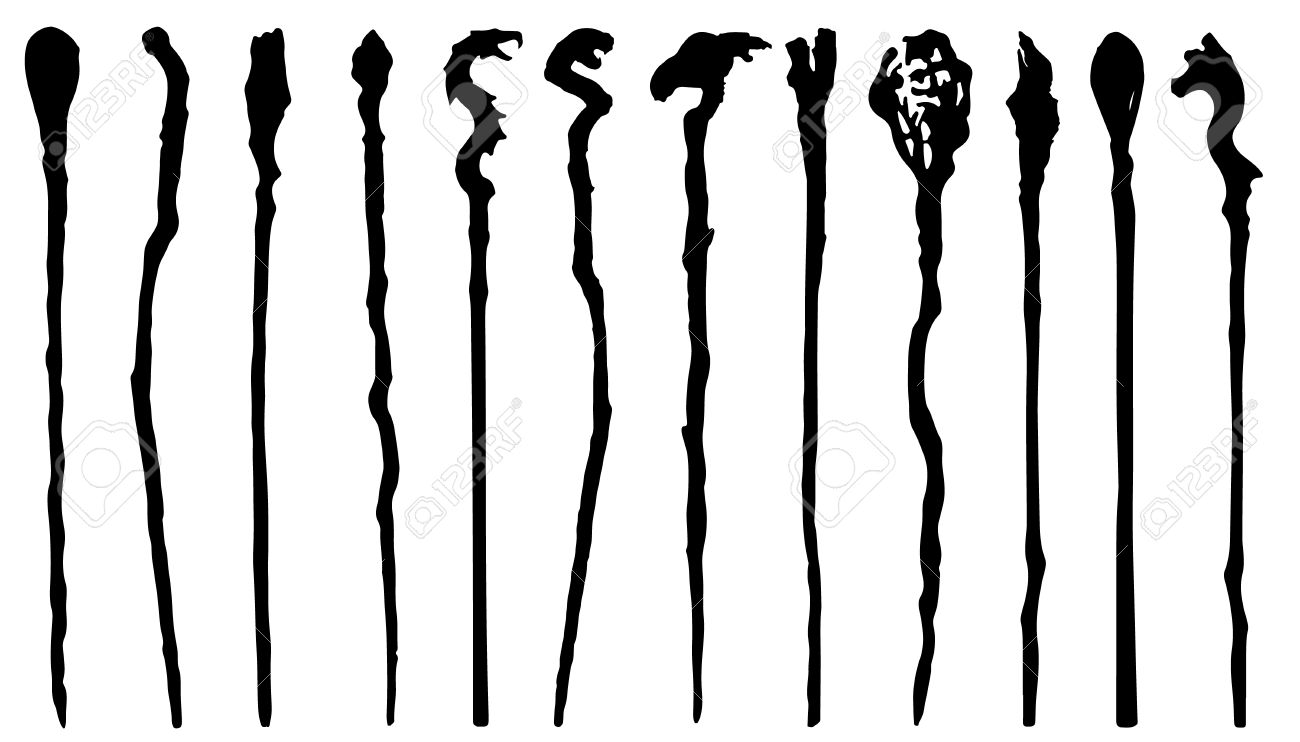 Magic Staff Silhouettes On The White Background Royalty Free