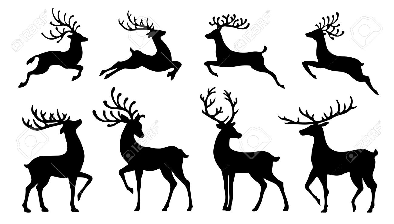 Christmas Reindeer Silhouettes On The White Background Royalty ...