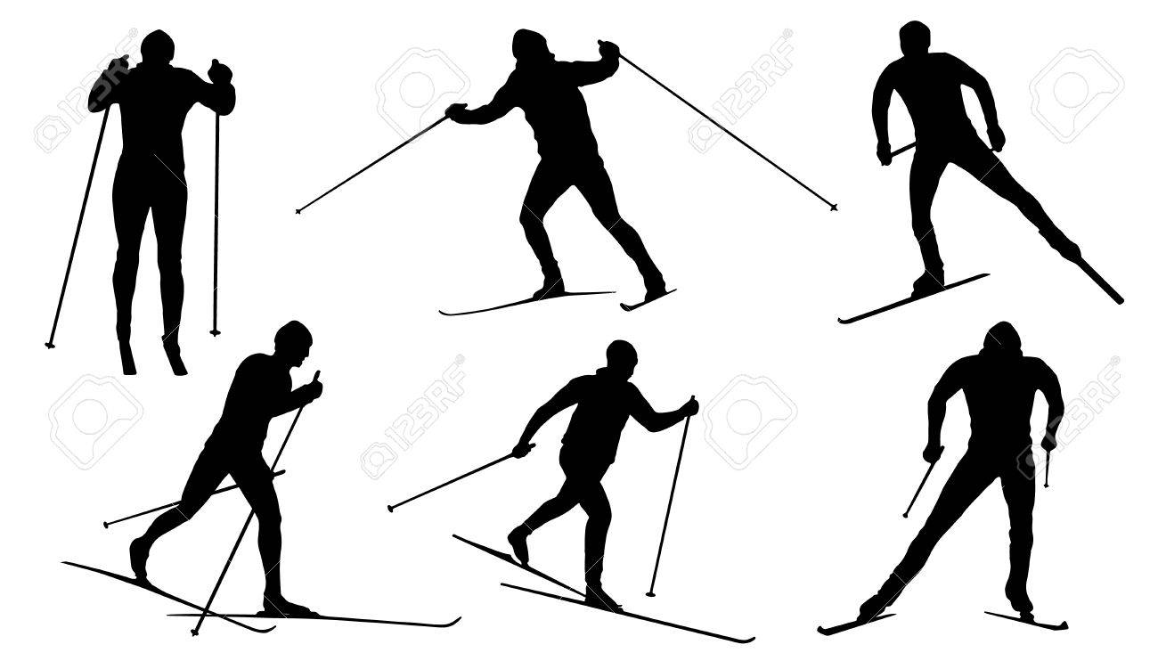 Cross Country Ski Silhouettes On The White Background Stock Vector
