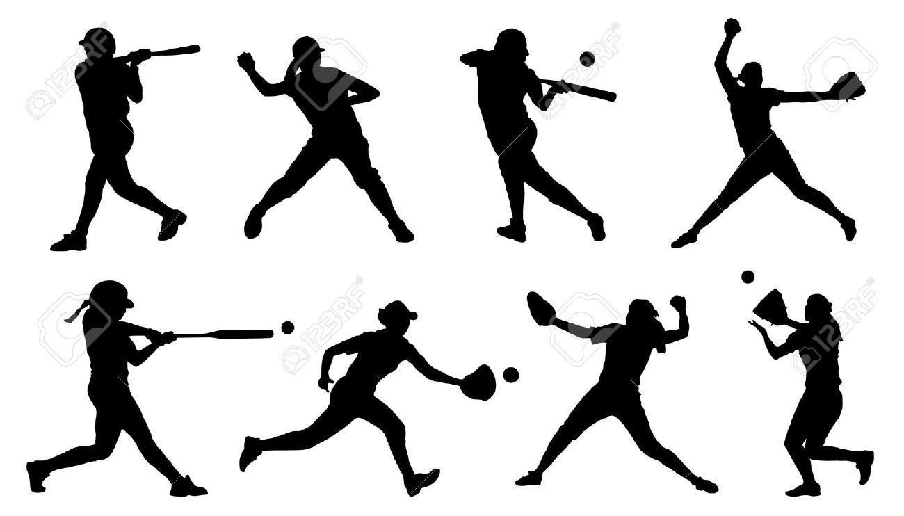 白い背景の上のソフトボールのシルエットのイラスト素材ベクタ Image
