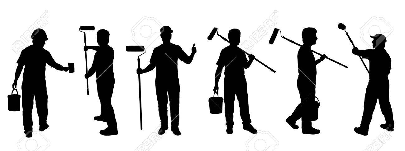 painter silhouettes on the white background - 44304354