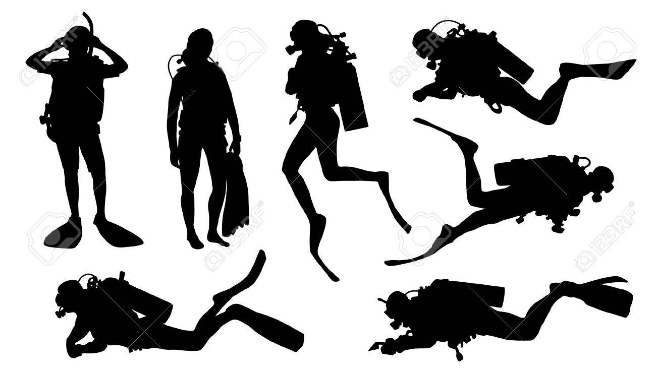 diver silhouettes on the white background - 53303538