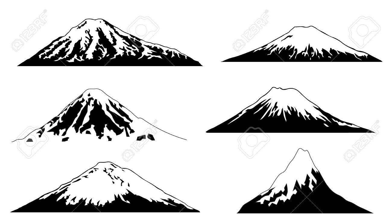 Vector volcano advanced on the white background
