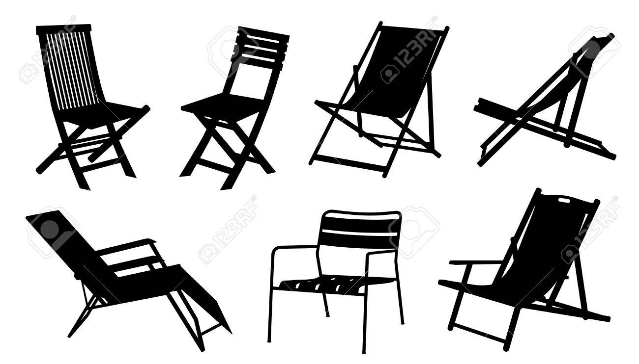 beach chair silhouettes on the white background