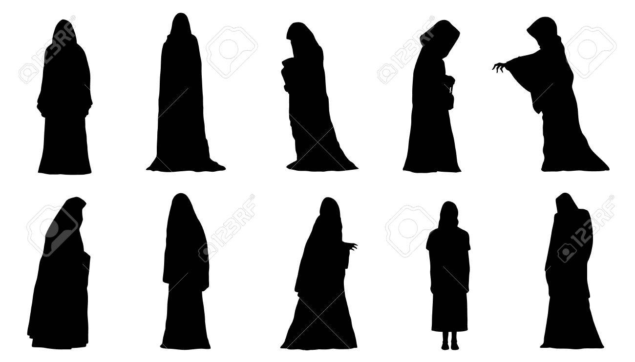 ghosts silhouettes on the white background - 68974516