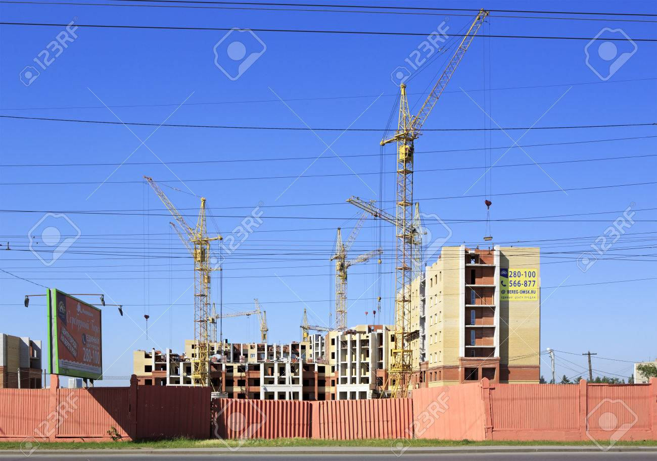 omsk russia june 26 2015 construction of high rise apartment brick - Brick Apartment 2015