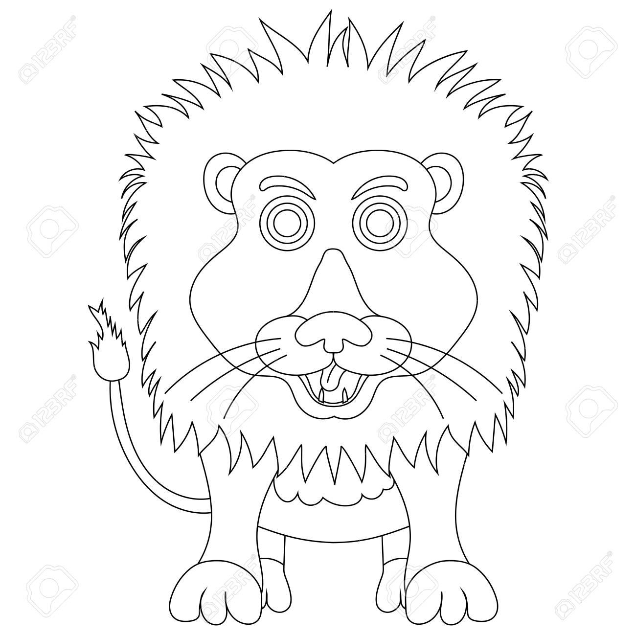 Vecteur Coloriage Dessin Animé Lion Mignon Sur Fond Blanc