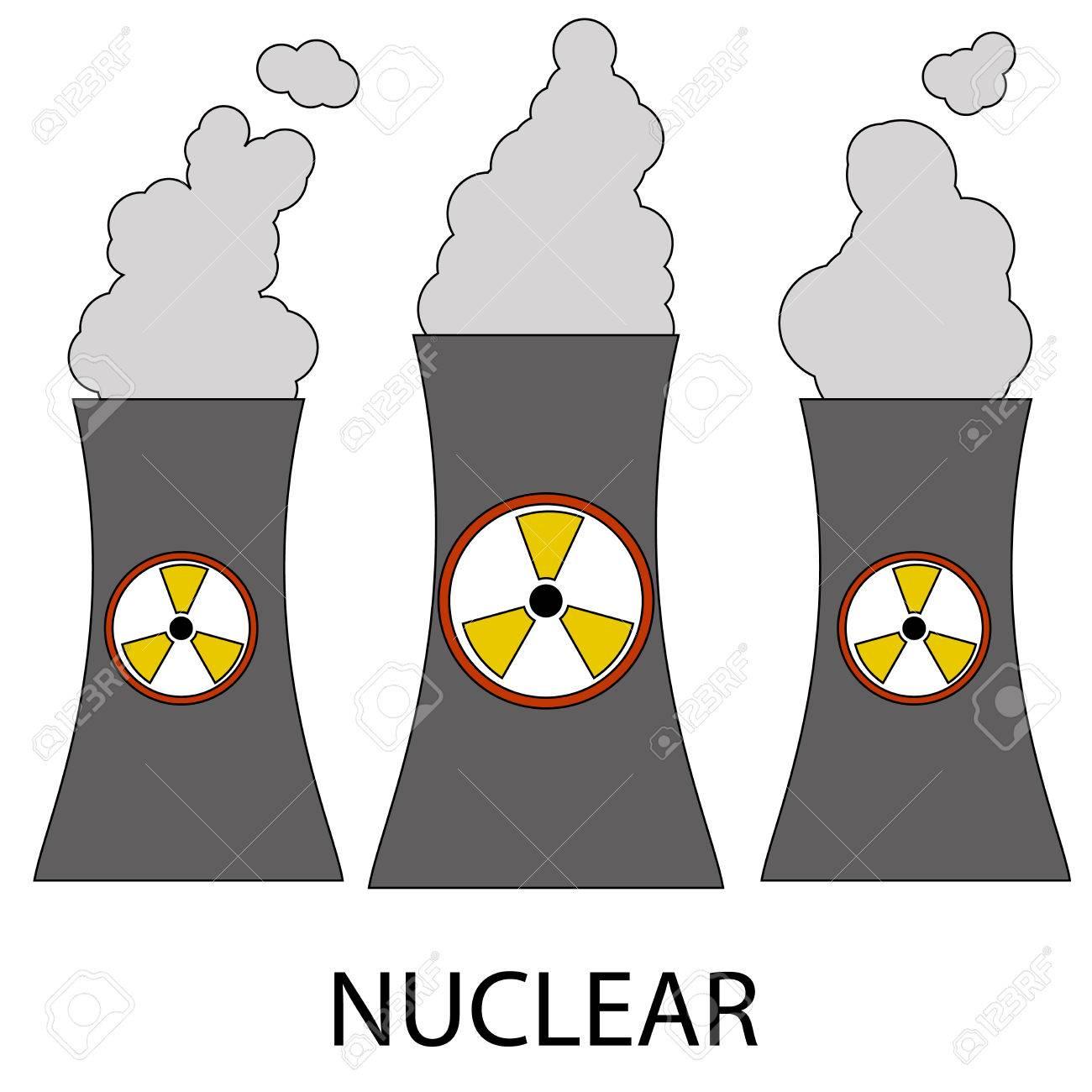 Icono Del Vector Aislado Planta De Energía Nuclear En El Fondo