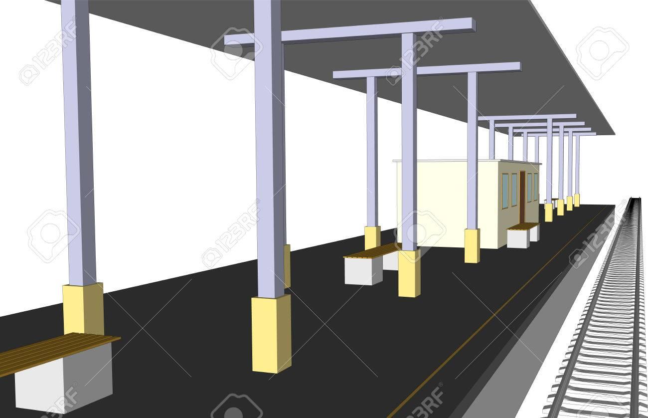 白の駅プラットフォーム鉄道線路のベクトル イラスト ロイヤリティフリー