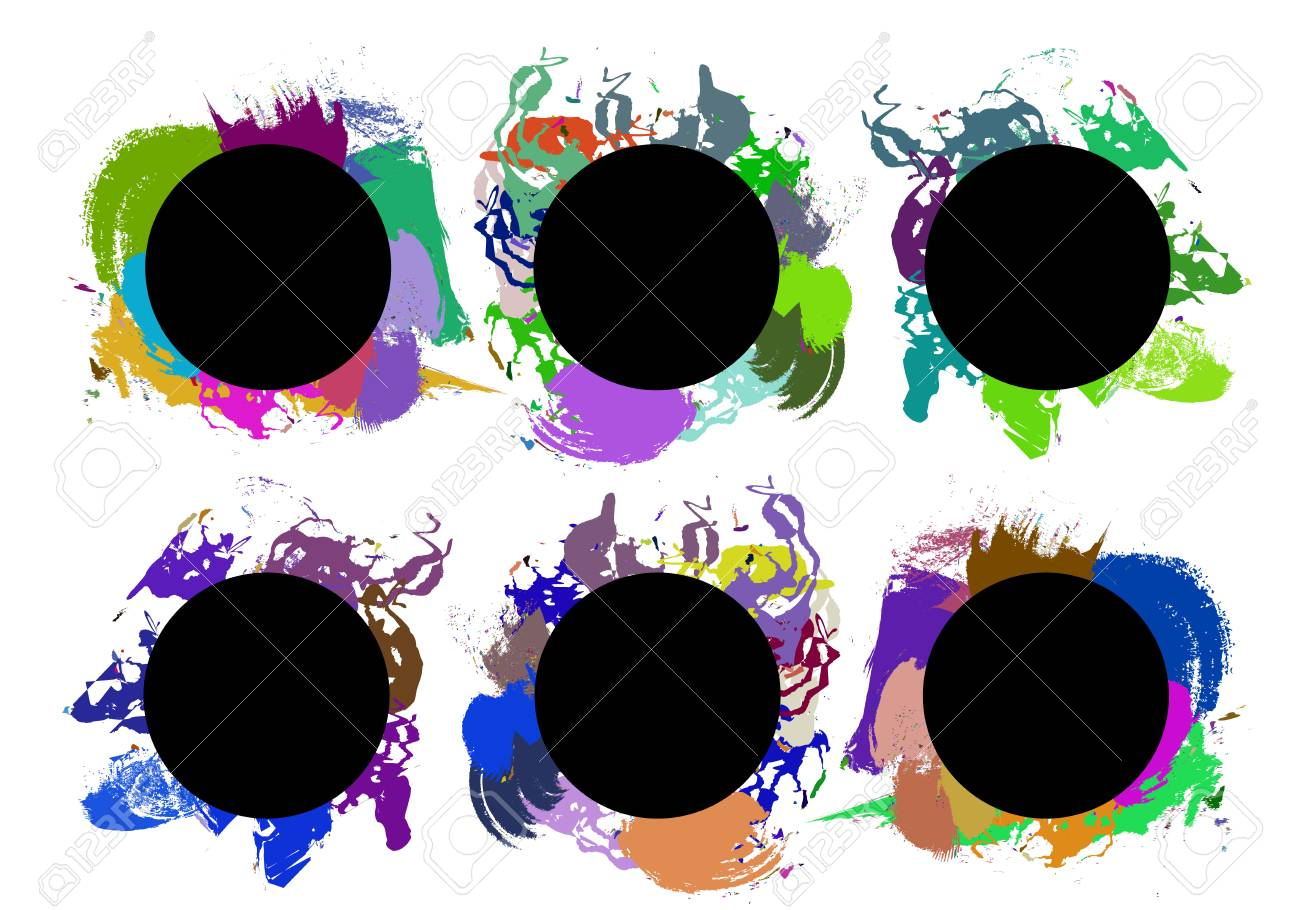 Set of color paint, ink, grunge, dirty brush strokes. Vector image - 62567562