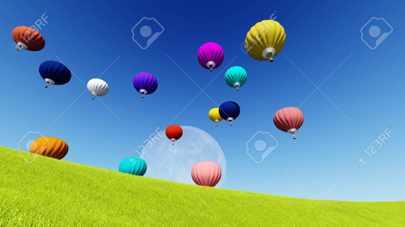 moon balloons and spring green meadow nature composition 3d