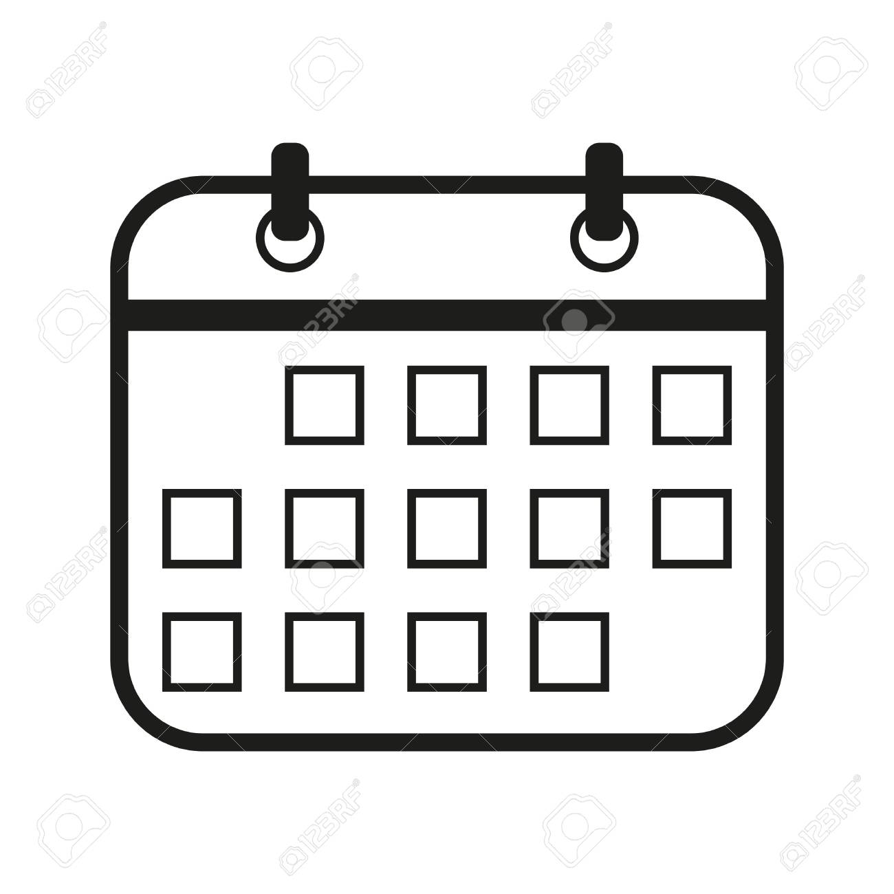 Calendario Vector Blanco.Calendar Sign Illustration Vector Black Icon On White Background