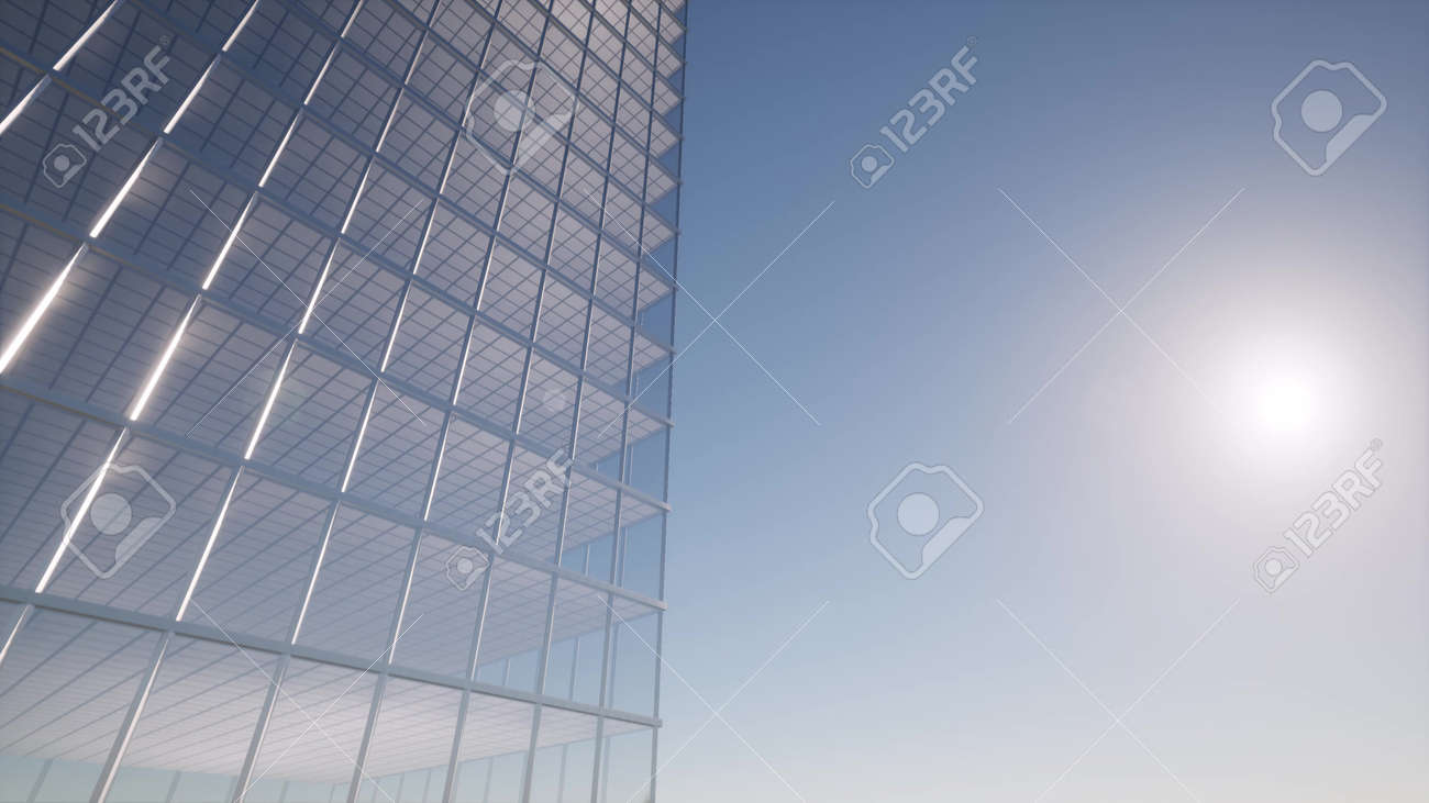 Office building windows Modern design interior and aerial view on skyscraper 3d rendering - 157650962