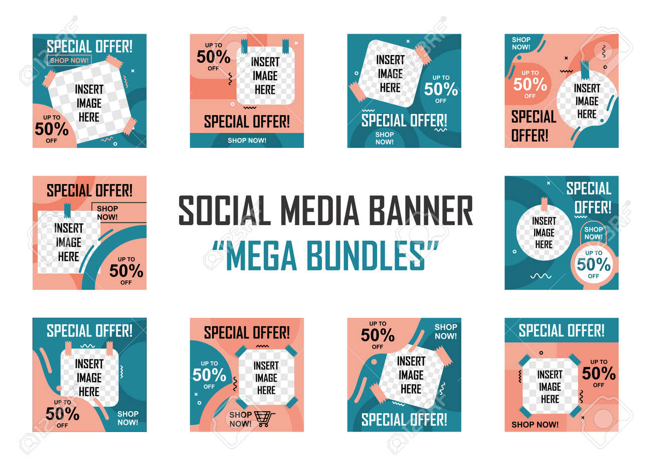Social media banner mega bundles set. Easy to edit with vector file. Can use for your creative content. Especially for marketing and social media post. - 166428912