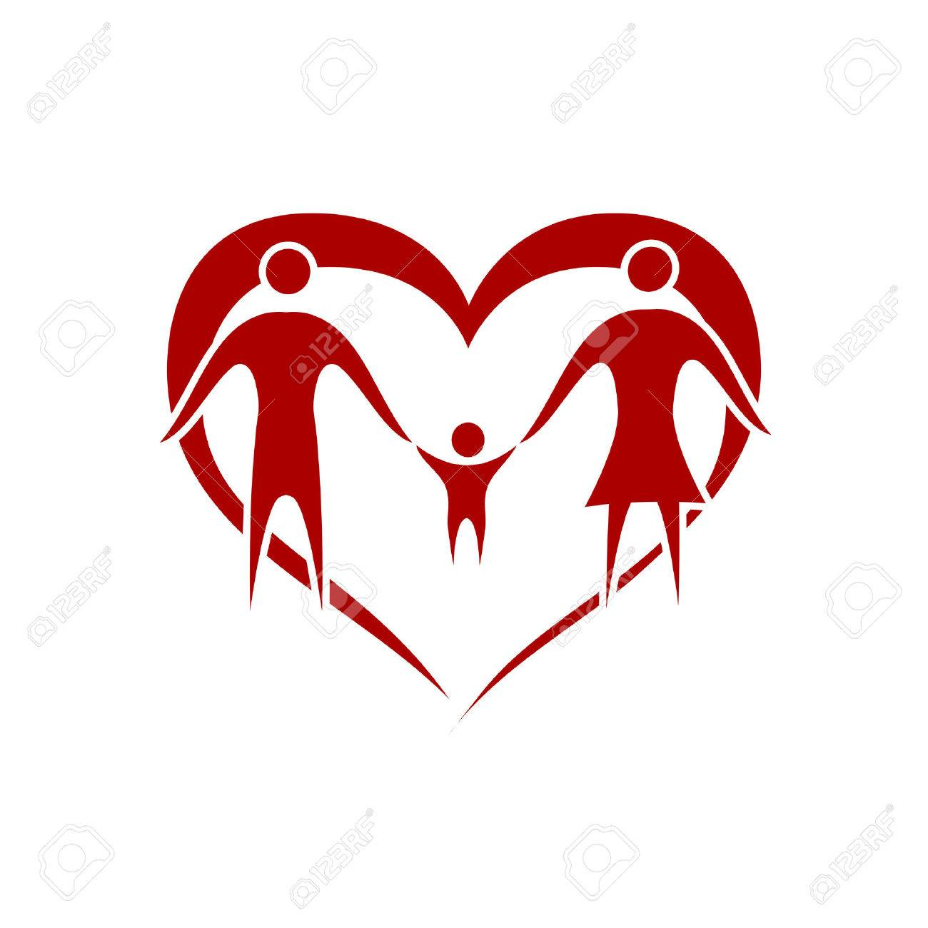 family vector with heart symbol Stock Vector - 7990996