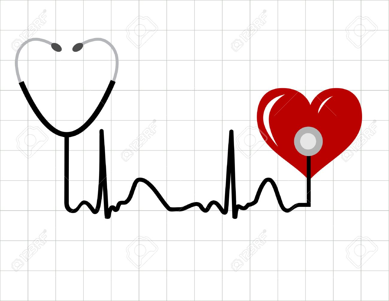 Heart And A Medical Stethoscope With Heartbeat Pulse Symbol